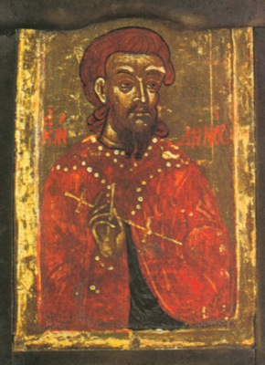 Icono ortodoxo griego de San Aquindino. Siglo XVII.