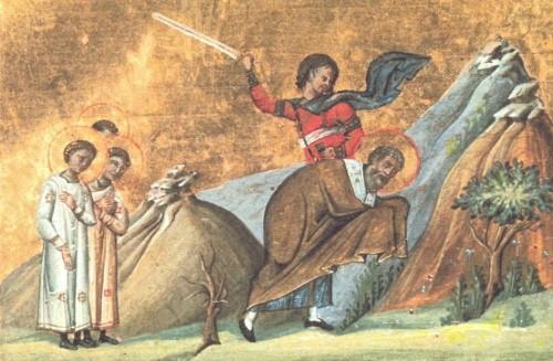Martirio del Santo. Menologio de Basilio II (s.X). Biblioteca Apostolica Vaticana, Roma (Italia).