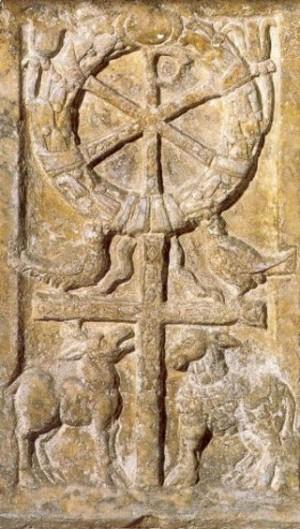Símbolo del Crismón, presente en el tapiz de los 233 Beatos Mártires Valencianos.