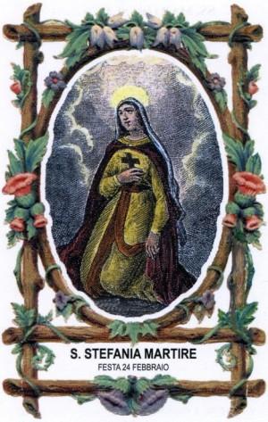 Estampa devocional italiana de Santa Estefanía de Denderah, virgen mártir.
