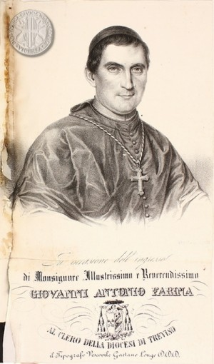 Grabado-retrato del Santo en su juventud.