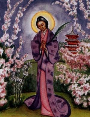Estampa devocional de la Santa, perteneciente a una serie italiana sobre santos dominicos.