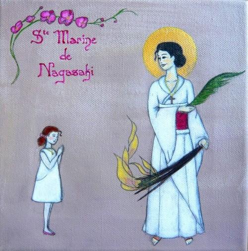 "Pintura francesa estilo ""manga"" de la Santa, también llamada Marina de Nagasaki."