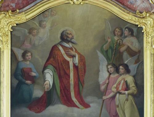 Detalle del Santo en su retablo de la iglesia de Ebersheim, Francia.