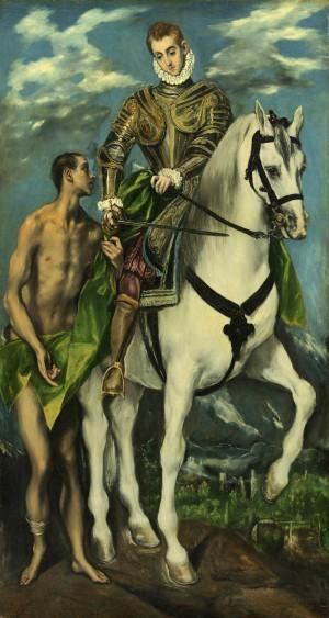 """San Martín y el mendigo. Lienzo de Domenikos Theotokopoulos, """"El Greco"""" (1597-1600). Galería Nacional de Arte de Washington, EEUU."""