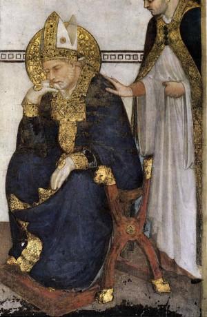 El Santo, meditando, es avisado de que tiene que celebrar misa. Detalle de un fresco de Simone Martini. Basílica inferior de San Francisco, Asís (Italia).