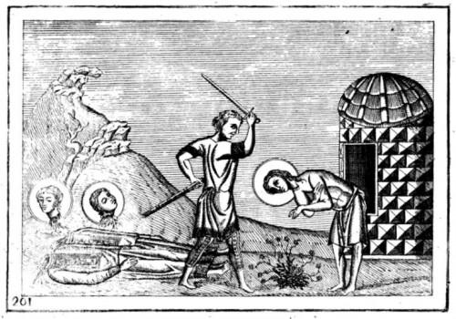 Martirio de los Santos. Grabado a partir de la iluminación del Menologio de Basilio II.