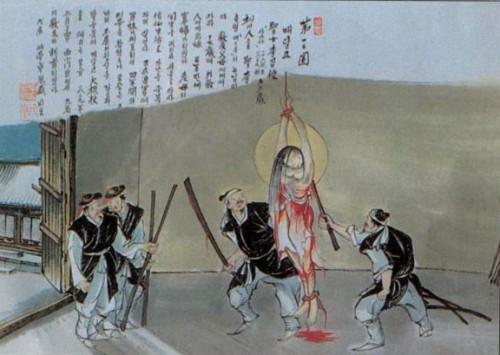 Martirio de la Santa. Ilustración contemporánea coreana.