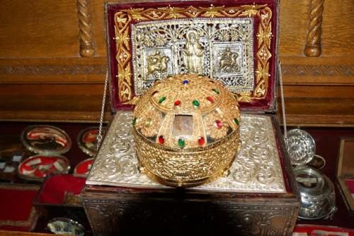 Relicario del cráneo del santo. Monasterio San Melecio, Kitheronas, Grecia.