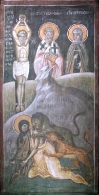 Detalle del Santo atado a un poste sufriendo tormento. Fresco ortodoxo serbio. Monasterio Gracanica, Kosovo.