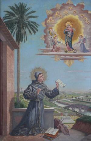 Mosaico del Beato Scoto ante la Inmaculada. Pontificia Università Antonianum, Roma (Italia).