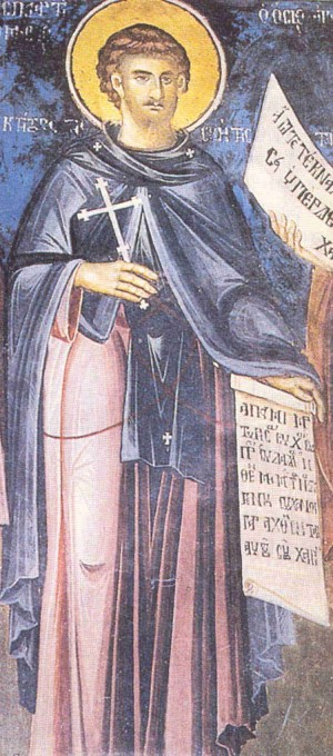 Detalle de San Romano de Karpenisi en un fresco ortodoxo griego.