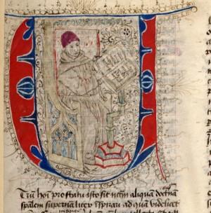 Miniatura del Beato en su scriptorium. Manuscrito de las Quaestiones.