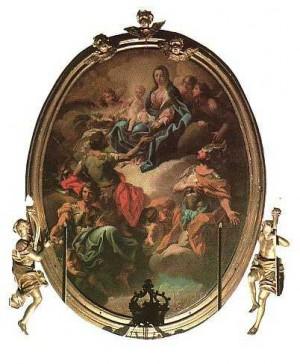La Virgen se le aparece a los tres mártires. Pintura de Luigi Vacca (XVIII-XIX), iglesia de los santos mártires, Turín.