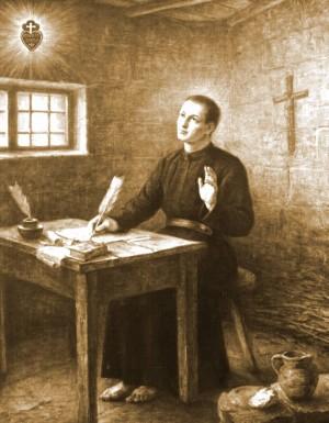 El Santo escribiendo las Reglas de su Congregación.