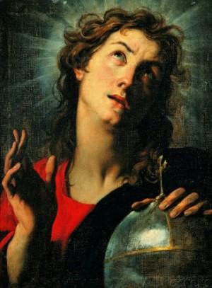 """Salvator Mundi"", lienzo de Lorenzo Lotto."
