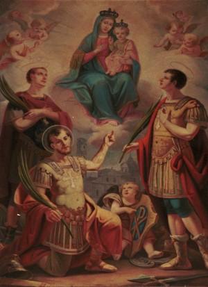 Lienzo decimonónico de los mártires de Turín con la Virgen y el Niño. Diócesis de Turín, Italia.