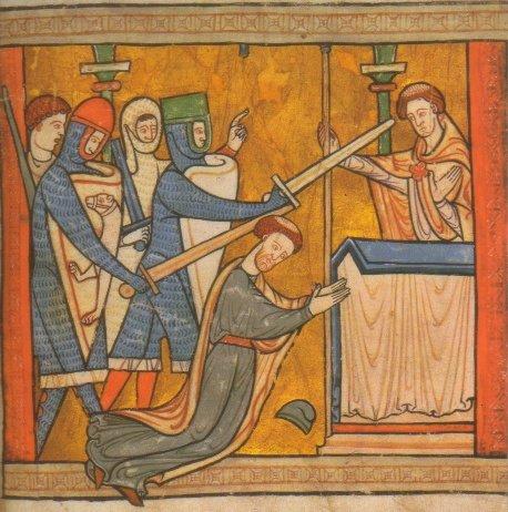 Martirio del Santo. Grabado de 1220 conservado en la British Library de Londres, Reino Unido.