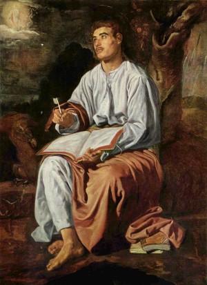 San Juan en Patmos, óleo de Diego de Silva y Velázquez (1618). National Gallery de Londres, Reino Unido.