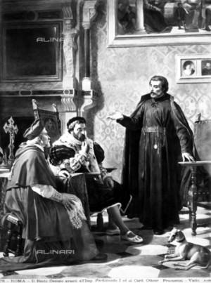 San Pedro Canisio delante del emperador Fernando I y del cardenal Otto. Cesare Fracassini (XIX), Museos Vaticanos. Fuente: Alinari.