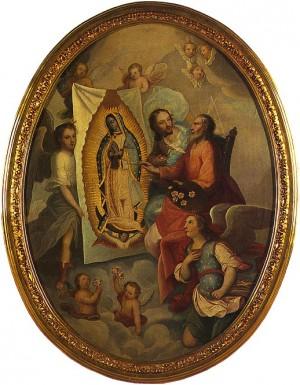 """Anónimo novohispano, óleo/tela, """"El Padre Eterno pintando a la Virgen de Guadalupe"""", siglo XVIII, Museo de la Basílica de Guadalupe."""