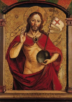 """Salvator Mundi"", detalle de una tabla gótica de Berrguete."