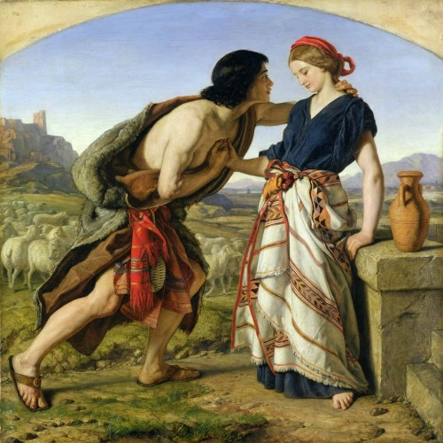 Jacob conoce a Raquel, hija de Labán. Lienzo de William Dyce (1845).
