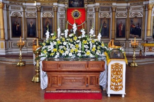 Reliquias de Santa Eutropia Jerzon expuestas a la veneración.