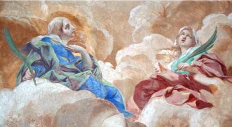 Detalle de las Santas Albina y Eupuria en el fresco de Brandi en la cripta de la catedral de Gaeta, Italia.