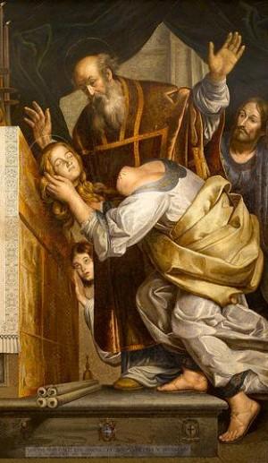 La Santa presenta su cabeza ante el obispo Marcial. Lienzo de Spadarino (1633). Iglesia de Santa Caterina de La Ruota, Roma (Italia).