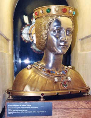 Busto-relicario del cráneo de la Santa. Iglesia de Saint Michel-des-Lions, Limoges, Francia.