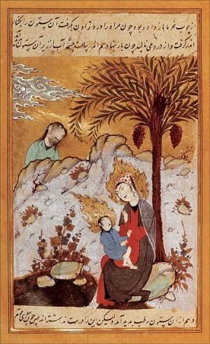 Mariam e Isa bajo la palmera en el desierto. Iluminación persa medieval.