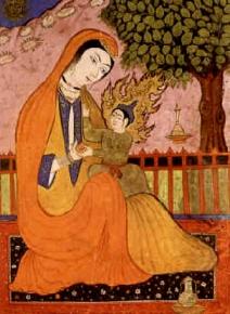 Pequeña miniatura persa de Mariam e Isa.