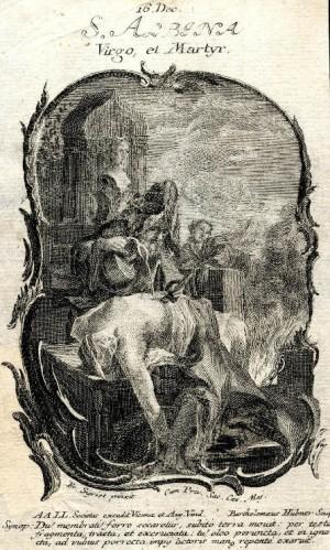 Martirio de la Santa. Grabado de Bartholomaus Hübner.