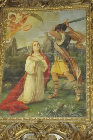 Lienzo que reconstruye el presunto martirio de la Santa.
