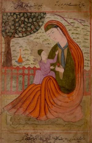 Maryam e Isa. Iluminación en un manuscrito persa. Año 1600.