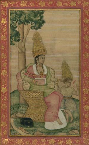 Maryam entronizada junto a su hijo Isa. Miniatura de Shaykh 'Abbāsī, de la dinastía persa Safavid.