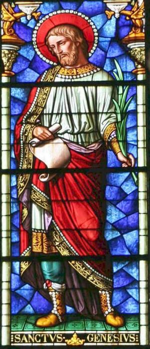 Detalle del Santo en una vidriera decimonónica. Iglesia de San Trófimo de Arlés, Francia.
