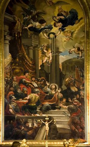 Martirio del Santo. Lienzo en el altar mayor de su iglesia en Madrid, España.