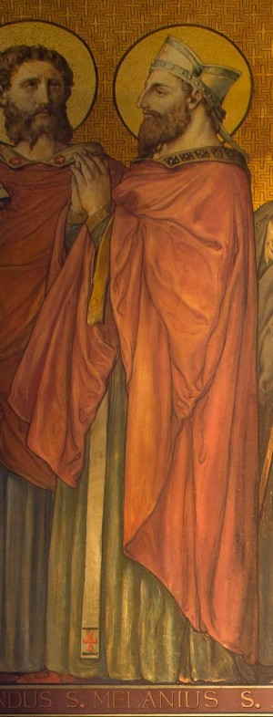 Detalle de San Melanio en el mural de Santos bretones de la catedral de Rennes, Francia.