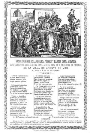 Gozos en honor a Santa Amancia editados en 1885, cuando aún era venerada en Arenys de Mar.