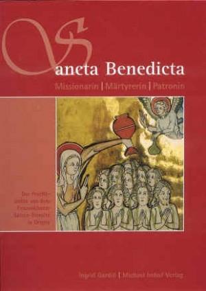 Santa Benedicta de Origny bautiza a sus compañeras de apostolado. Portada de un libro alemán dedicado a la Santa.