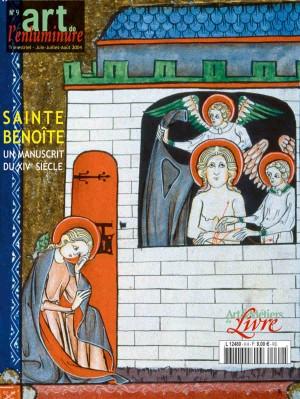 Santa Benedicta de Origny atendida y liberada por ángeles de la prisión. Portada de una revista francesa sobre iluminaciones medievales.