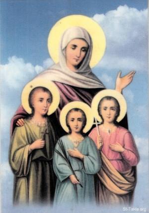 Estampa devocional copta de las Santas. Fuente: www.takla.org.