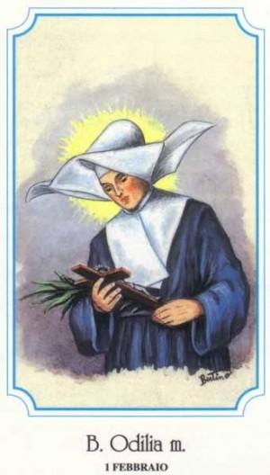 "Estampa devocional italiana de la Beata Odile Baumgarten, perteneciente a la serie del ilustrador Alberto Boccali (""Bertino"")."