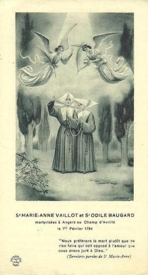 Estampa devocional francesa de las dos Beatas.