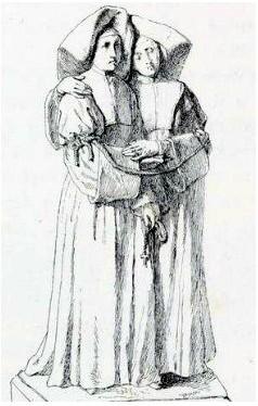 Ilustración de las dos Beatas, atadas juntas. Odile reclinada en Marie-Anne.