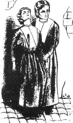 La Beata Marie-Anne sostiene el cadáver de la Beata Odile. Ilustración contemporánea.