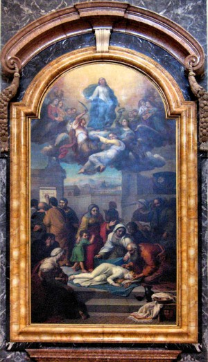 Muerte y apoteosis de la Santa. Lienzo de Enrico Bartolomei (1850). Catedral de Foligno, Italia.