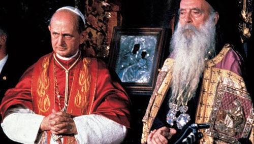 Fotografía del encuentro entre el Beato Pablo VI y el Patriarca Ecuménico Atenágoras I.